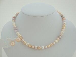 淡水真珠1連ネックレス&イヤリング(ピンク系マルチカラー)