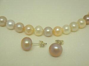 淡水真珠1連ネックレス&ピアス(ピンク系マルチカラー)