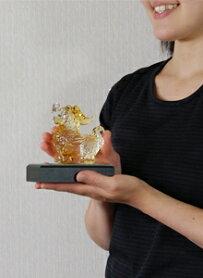 ガラスの貔貅(ひきゅう)置物アジアン竜風水アジアンアンティークアンティーク風骨董雑貨商売繁盛縁起シノワズリークリアゴールド