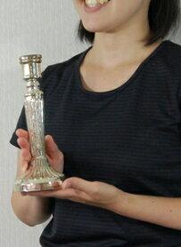 Shirleyシャーリーシルバーガラスキャンドルスタンドキャンドルホルダー燭台ロウソクオブジェアンティークアンティーク風雑貨シャビーシックシルバー