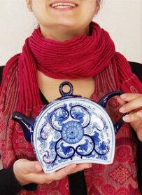 オリエンタルな陶器ポッド花瓶オブジェコンポートアンティーク骨董アジアン置物