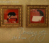 ネコのアートフレーム ドミンゲス ミニゲル アンティーク 雑貨 アンティーク風 壁飾り 壁掛け おしゃれ 赤 レッド 猫 ねこ 絵画 洋画 玄関 飾る