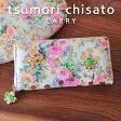 ツモリチサト 長財布 ドットフラワーネコtsumori chisato CARRY 花柄とドットプリントが可愛いネコプレート付き長財布