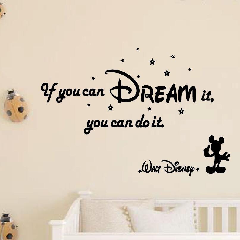 【送料無料】Walt Disney Mickey mouse ウォルトディズニー ミッキーマウス 英語の名言 ウォールステッカー 壁紙シール 転写式 20*30cm*3枚(転写式orステッカー) #469