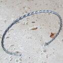 spiralbangle#2silverバングル【ハンドメイド/手作り/メンズ/男性用/レディース/女性用/シルバー/スリム/細い】