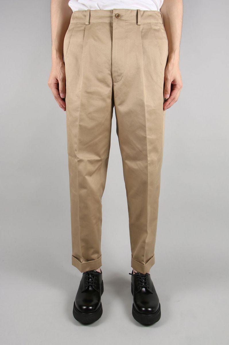 San Joaquin Cotton Chino Pleated Beltless -BEIGE- (5119-83531) Scye Basics -Men-(サイ・ベーシックス)