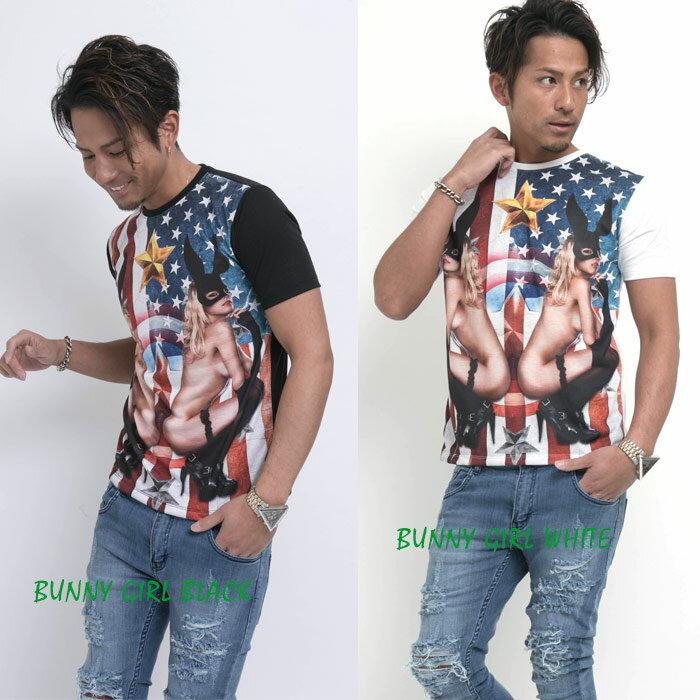【新作】TシャツGIRLPHOTOプリントTシャツ/ビター系/BITTER/ビタ男/お兄系/渋谷109men's/総柄/女/ガールズ/フォト/ストリート/モード/アメカジ/サーフ/DEEP/ディープ/RebeL/レベルティーシャツ《FUZZY/ファジー》送料無料