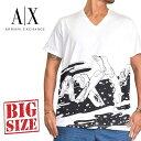 アルマーニエクスチェンジ A/X ARMANI EXCHANGE ロゴプリント Vネック 半袖Tシャツ REGULAR FIT 白 XL XXL 大きいサイズ メンズ あす楽