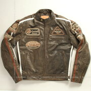 ジャケット シングルライダース プロテクター ワッペン ヴィンテージ デグナー ブラウン