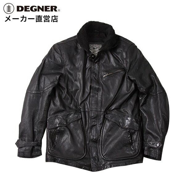 11月24日からスマホエントリーでポイント10倍! バイク ジャケット N-1 本革 メンズ レザー 羊革 プロテクター 肩 ヒジ 背中 パッド デッキジャケット レザーデッキ DEGNER デグナー 送料無料 サイズ交換 17WJ-5 ブラック デグナー