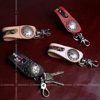 色彩繽紛的鑰匙環鑰匙圈皮革摩托車鑰匙環音鑰匙圈皮革數值皮革的魯棒禮物鑰匙鏈摩托皮革鑰匙持有人鑰匙環鑰匙扣 21 K (花卉寶) k degner DEGNER