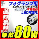 【即納】送料無料 CREE製 80W LEDフォグ ホワイト 2個セット! H8 H11 H16 H7 HB3 HB4 PSX26W PSX24W LED フォグランプ /バックライト/コーナーリングランプ! プロジェクターレンズ 12v対応・無極性 霧灯 6500K フォグ用 led クリア LEDフォグランプ 汎用
