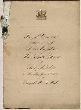 【中古】Royal Concert in the presence of Their Majesties The King & Queen by Fritz Kreisler(英文) クライスラー ロイヤルコンサートプログラム