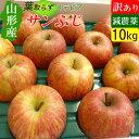 【送料無料】 山形 ステビア農法 葉取らず サンふじ りんご 訳あり 10キロ 規格外 家庭用 高糖度