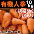 【有機JAS】無農薬にんじん 10kg 訳あり ジュース用人参 規格外品(B品)