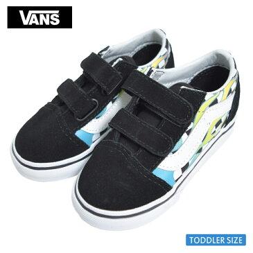 VANS TODDLERバンズ トドラー【VN0A344KVIU】OLD SKOOL V(Surf Flame) Scuba Blue/BlackオールドスクールV ブラック ブルー チェッカーボード幼児用スニーカー 靴