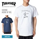 メール便THRASHERスラッシャー【GONZ】WHITE/NAVYゴンズ マークゴンザレスメンズ Tシャツ 半袖 白 ネイビー