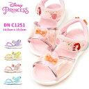 ディズニー Disney サンダル DN C1251 キッズ 子供靴 ディズニープリンセス キラキラ お花 リボン 抗菌防臭 軽量 1