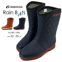 ラバーブーツレディースムーンスターmoonstarMFL47RL防水長靴レインブーツレインシューズ防寒性レイン雨雪冬ハーフラバー軽量