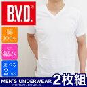 B.V.D. ビーブイディー Tシャツ メンズ 全2種 EY713TS-2P EY714TS-2P クルーネック Vネック 半袖 2枚組 カットソー 着替え コットン 白 インナー アンダーウェア 下着 肌着