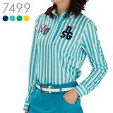 7499 袖ロゴストレッチストライプシャツコーデの定番「着やせ」ストライプ!動きやすくシワになりにくい生地で作られた長袖シャツTL50 1912ws[2064m50]