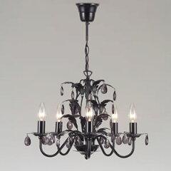 【送料無料】5灯シャンデリアライトブラックがお部屋に映えるコンパクトでかわいらしいリーフデ...
