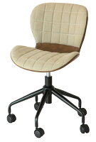 デスクチェアーオフィスチェアキャスター付きイス昇降式レトロベージュレザーパソコンチェアワークチェア椅子おしゃれモダンコンパクト送料別