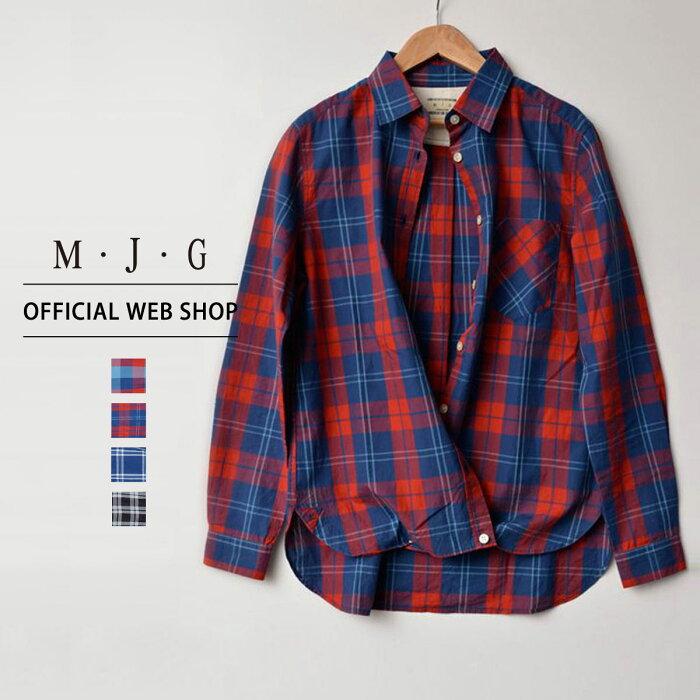 【40%OFF】 M・J・G エムジジェ 2wayチェックシャツ レディース トップス シャツ インディゴブロックチェック赤 インディゴタータンチェック赤 インディゴウィンドウペン青 ガーゼタータンチェック黒 デニム ミセス きれいめ [春夏] [SALE] GMT582