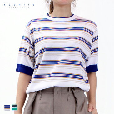 公式 【30%OFF】 AZURITE by Sweet Camel アズライト ボーダー プルオーバー レディース トップス ニット Mサイズ ホワイト×ブルー グリーン×ネイビー Tシャツ [春夏] [SALE] SCT112