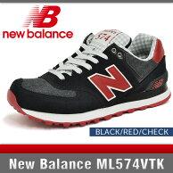 ニューバランススニーカーレディースML574VTKブラック/レッド/チェックDワイズNewBalanceBLACK/RED/CHECK