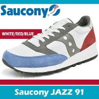 サッカニースニーカーメンズジャズ91ホワイト/ブルー/レッドSauconyJAZZ91WHITE/BLUE/REDS70216-1