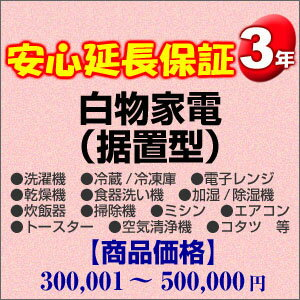 その他 3年間延長保証 白物家電(据置型) 300001〜500000円 H3-WS-139555