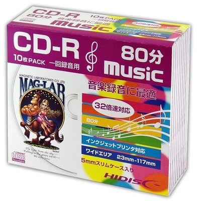 hidisc CD-R 音楽用5mmスリムケース10P HDCR80GMP10SC