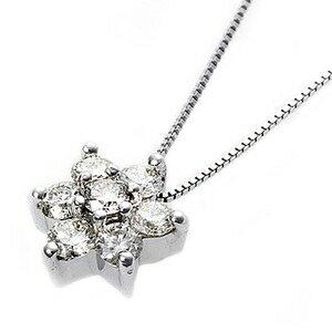 その他 【鑑別書付】K18ホワイトゴールド 天然ダイヤネックレス ダイヤモンドペンダント/ネックレス0.3ct フラワーモチーフ ds-1122740:爆安!家電のでん太郎