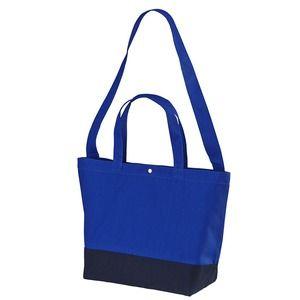 その他 帆布製綿キャンパスコットンスイッチングトートバッグ2WAY コバルトブルー/ネイビー ds-1657546