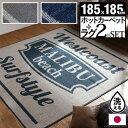 ナカムラ 洗える ヴィンテージデザインホットカーペットセット 〔ジェイク〕 2畳(185x185cm) 本体+カバー 正方形 s33100216gr