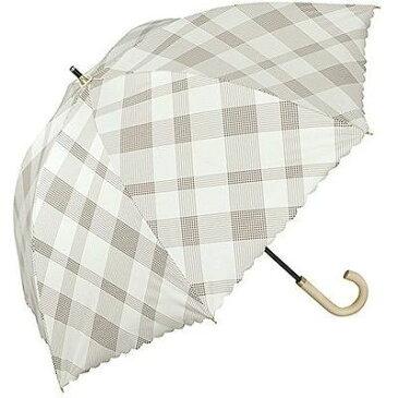ワールドパーティー 長傘 日傘/晴雨兼用傘 遮光 バードケージバイアスチェック オフ ホワイト 7本骨 55cm FF-02336