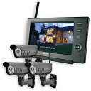 ELPA ワイヤレスカメラ&モニターセット カメラ3台+モニター1台 スマホ対応 CMS-7110 CMS-C71 / 無線方式で設置が簡単。屋外で使える防犯カ...