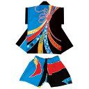子供 袖無し半纏 半被&パンツセット(青/黒) =お祭り衣装 大祭 祭禮 神輿 イベント= 1