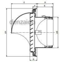 バクマ工業丸型フード付換気口フード・ルーバー脱着式低圧損防火ダンパー付取付穴付ステンレス製シルバーメタリックBL認定品200φ用ND-200SMV2BL