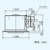 パナソニック天井埋込形換気扇排気・強-弱低騒音・大風量形鋼板製本体ルーバーセットタイプフラットパネル形埋込寸法:320mm角適用パイプ径:φ150mmFY-32FPK7