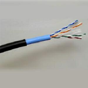 関西通信電線 LAN配線用ケーブル 屋外用 Cat.6 100m巻 黒 UTP-C6-W(0.5×4P)画像