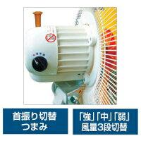 スイデン工場扇《スイファン》全閉式スタンドタイププラスチックハネ首振式風量3段式(強・中・弱)SF-45VS-1VP2