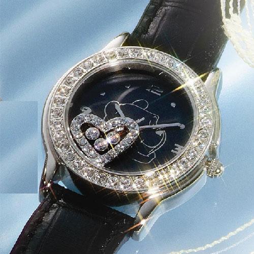 プーさん×スワロフスキー腕時計ハッピークリスタル ブラック