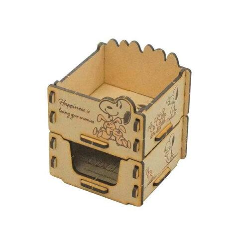 小物入れ 文具入れ 文具収納 SNOOPY スヌーピー 組立木箱2段 スヌーピー&ラビット SNB1800B