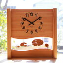 KICORI さかなの親子の時計 k184 (木製 とけい ウッドクロック 新築祝い 壁掛け時計 置き時計 ギフト インテリア 日本製 国産) 児童館