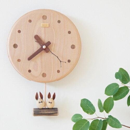 デポー限定 手作り 木の時計 仲良し うさぎ (木製 とけい ウッドクロック 新築祝い 壁掛け時計 置き時計 ギフト インテリア 日本製 国産) 児童館