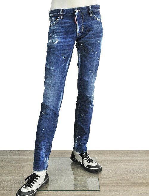 ディースクエアード  Dsquared2 SLIM JEANスリムジーンモデル ブルーウォッシュ ブリーチ的な白さが覗く ペイント&大量クラック加工 ダメージ飾りボタンフライジーンズ デニムパンツ:でらアウトレット-メンズブランド