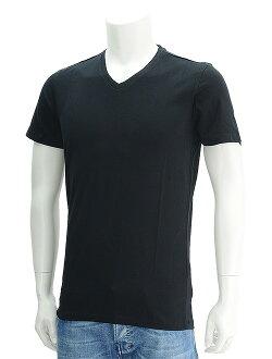 彈力棉光對應于雄偉雄偉洪姆 NOIR 黑色黑顏色和經典所有軟 V 領衫棉短袖 t-汗衫-法國