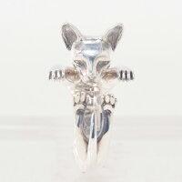 ドッグフィーバーDOGFEVER/CATキャットフィーバーシリーズ/SPHYNXスフィンクス猫/ツルリとした毛のない気高き様を表現、フィギュアなみにリアルな輪っか型ハグリング、イタリアハンドメイドアクセサリー、指輪、アニマルメンズレディース)n